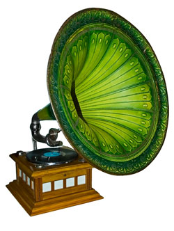 A old gramophone used to play vinyl records.