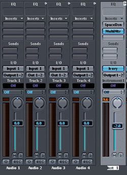 Modern sequencers allow to create virtual audio mixing consoles for pure digital editing.
