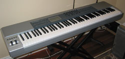 A MIDI keyboard used to input notes into sequencing or notational programs.